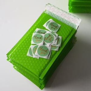 """NEW 25 Neon Green Bubble Mailers 4.5x8.25"""" Inside"""